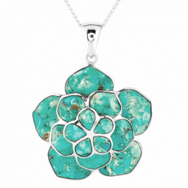 Large Silver Lotus Pendant Inlaid with Turquoise Mosaic