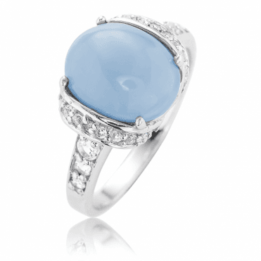 1ct of Dreamy Blue Opal Ring Lit by White Topaz
