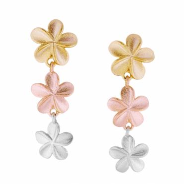 3 Tonal Gold Textured Flower Earrings