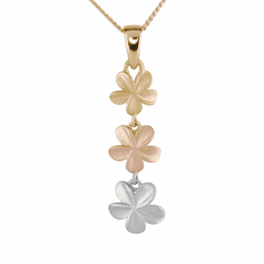 3 Tonal Gold Textured Flower Pendant