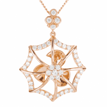 Enchanted Spinner Web Pendant Nuanced with Rose Gold