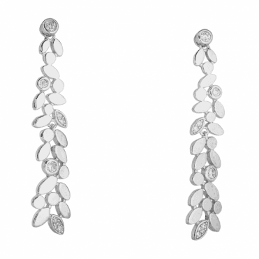 Dancing Silver Leaf Cascade with Glints of Cubic Zirconia