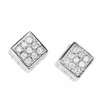 Silver Cube Earrings Encrusted with Cubic Zirconia