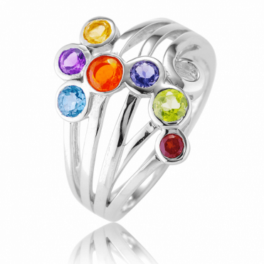 Chakra Ring with Bubbles of Jewelled Brightness