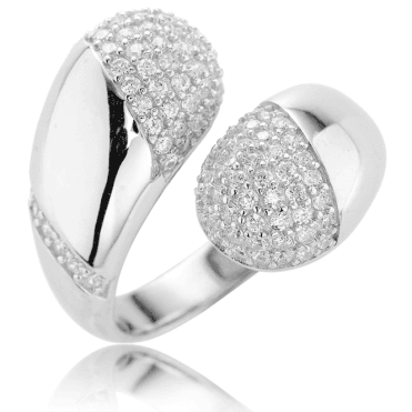 Comfort-Fit Adjustable Ring in Glistening Pavé Silver