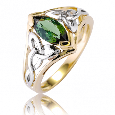 Over 1ct of Green Tourmaline in a Celtic Harmony of Tonal 9ct Gold