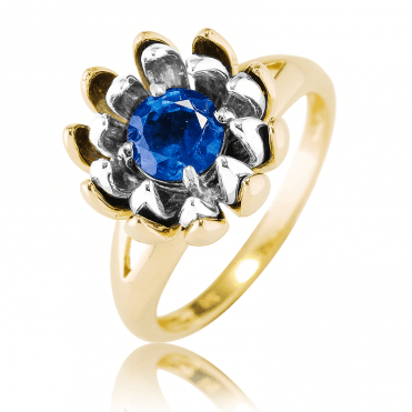 1.10ct Sapphire Lotus Ring Petalled with 9ct Yellow & White Gold