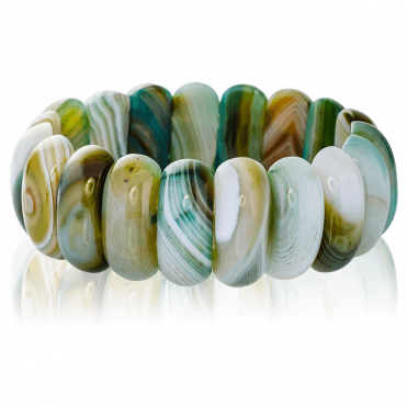 Easy Stretch Bracelet with 350ct of Green Striped Agate