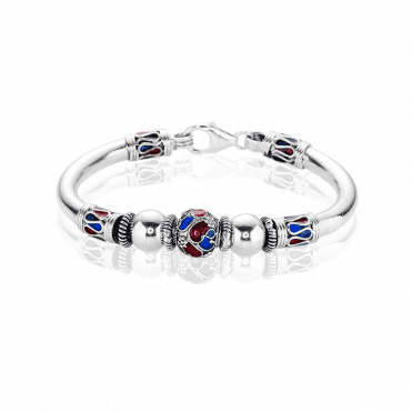 Hand-crafted Byzantine Bangle with Bright Enamel on Silver