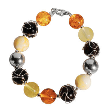 Ladies Shipton and Co Exclusive Silver and Amber Beads Bracelet TBR003AB