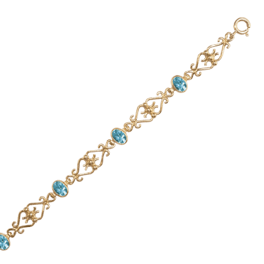 Ladies Shipton and Co Exclusive 9ct Yellow Gold and Aquamarine Bracelet AY1753AQ