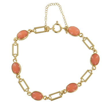 Ladies Shipton and Co Exclusive 9ct Yellow Gold and Coral Bracelet AY1171CL
