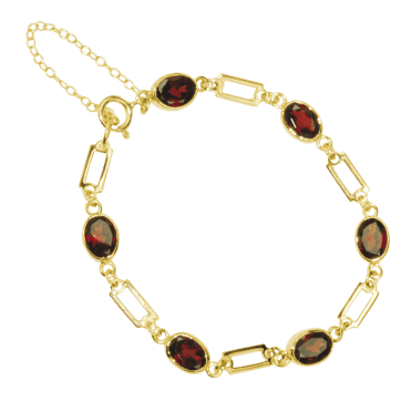 Ladies Shipton and Co Exclusive 9ct Yellow Gold and Garnet Bracelet AY1171GR