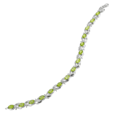 Ladies Shipton and Co Exclusive Silver and Peridot Garlands Bracelet AQA322PE