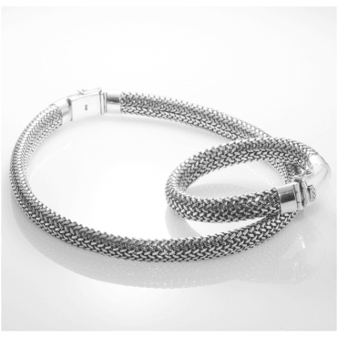 Ladies Shipton and Co Silver Handmade Woven Eight Inches Long Bracelet with Clasp TFE002NS