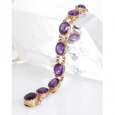 Ladies Shipton and Co Exclusive 9ct Yellow Gold and Amethyst Bracelet AY0001AM