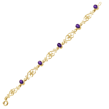 Ladies Shipton and Co 9ct Yellow Gold and Five 7x5mm Oval Amethyst in Scrollwork Design Bracelet AY1753AM