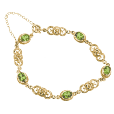 Ladies Shipton and Co Exclusive 9ct Yellow Gold and Peridot Bracelet AY1622PE
