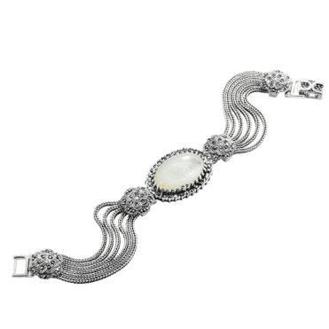 Ladies Shipton and Co  Silver and Mother of Pearl and Marcasite Bracelet TSV014PMMM