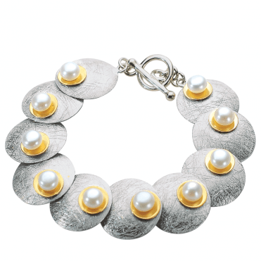 Ladies Shipton and Co Silver and Freshwater Pearls Bracelet TNI009FP