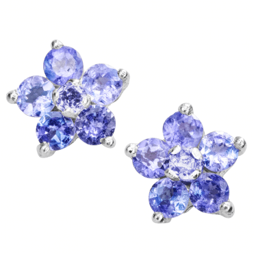 714157c99 Ladies Shipton and Co Silver and Tanzanite Flower Stud Earrings TFE247TZ ...