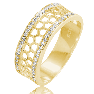 Sparkling Honeycomb Ring in 18ct Gold Plate
