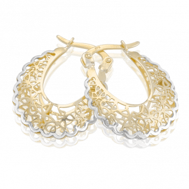 Scalloped Earrings Display 9ct Gold in Tonal Contrasts