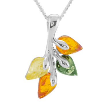 Silver Leaf Pendant with Natural Shades of Ancient Amber