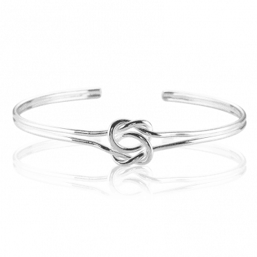 Celtic Bangle Intertwines Lovers Knots in Sterling Silver