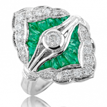 Jazz Pattern with 1¾cts of Emeralds & Diamonds in 18ct White Gold