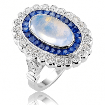 9ct White Gold Ring Displays 4¼cts of Moonstone, Sapphire & Diamonds