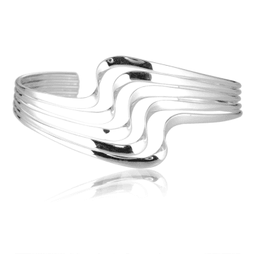 Five Strand Silver Wave Bangle