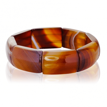 Stretch Bracelet with 350cts of Intriguing Striped Agate