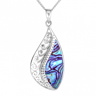 Natural Paua Shell & Silver Wave Pendant