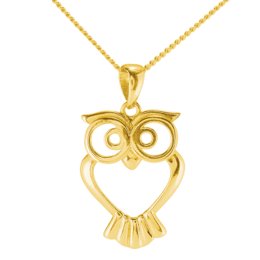 Owl Pendant Gleams in 9ct Gold