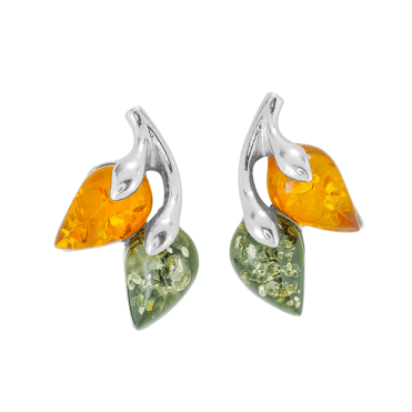 Autumn Earrings Blend Two Colours of Baltic Amber