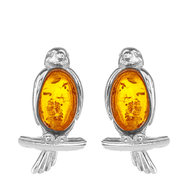 Little Bird Earrings in Cognac Amber