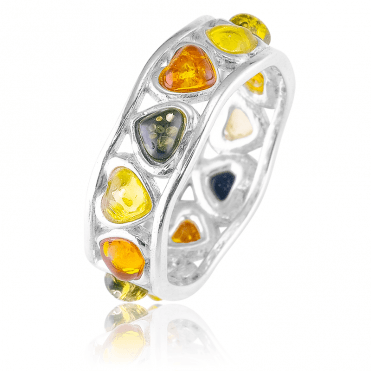 Silver Full Eternity Ring with a Baltic Amber Heartbeat Only £35