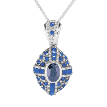 Domed Pendant with Dark Blue Sapphire & Lapis Only £50