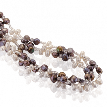 Three Abundant Strands of Pearls & Crystal