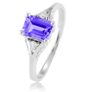 1.2ct Octagonal Tanzanite lit by 14 Diamonds