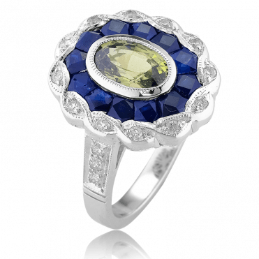 3½cts of Precise Calibré Cut Sapphires in 18ct White Gold