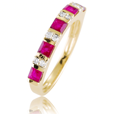 Half Eternity Ring with Ruby & Diamond Duets