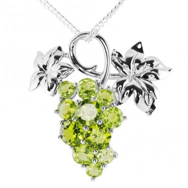 Silver Vine Pendant with 5.5cts of Peridot Fruits