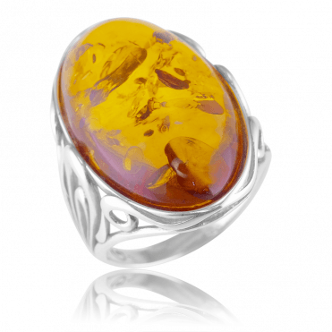 Statement Baltic Amber Ring Signed in Silver