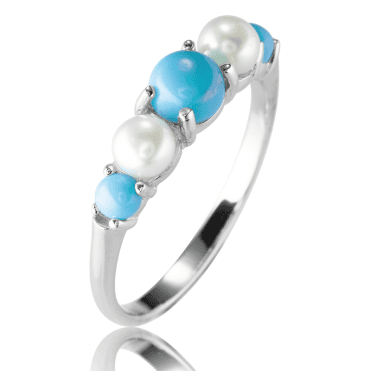 Graduated Pearl Ring with Freshwater Pearls & Turquoise