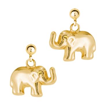 Lucky Elephant Earrings in 9ct Gold