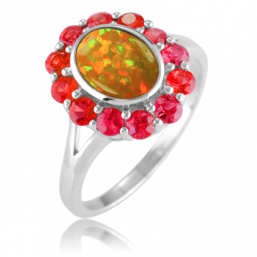 Fiery Opal Echoed in Fancy Red Sapphires
