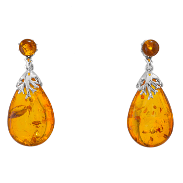 Silver-Tipped 12ct Baltic Amber Earrings