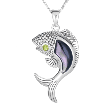 Mother of Pearl & Peridot Fish Pendant